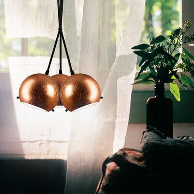 Sotto Luce Myoo 3B/S pendant lamp in copper leaves