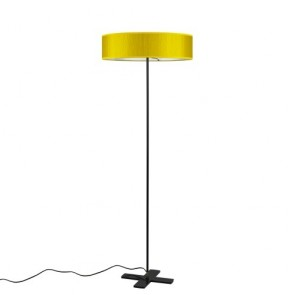 Bulb Attack Doce1/F Slim mustard modern standing lamp with lampshade made of laminated fabric and parchment paper diffuser