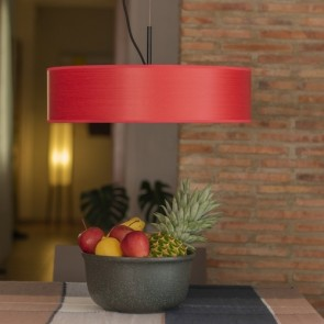 Bulb Attack Ocho Slim 1/S pendant lamp with lampshade made of natural wood veneer and parchment paper diffuser - Red