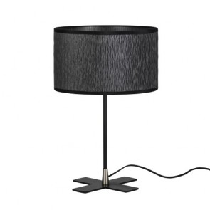 Bulb Attack Once 1/T black table lamp with lampshade made of laminated fabric