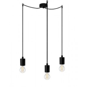 Bulb Attack Cero Basic S3 pendant lamp with black lamp holder, black textile cable and black ceiling rose
