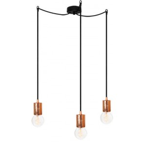 Bulb Attack CERO S3 pendant lamp with copper metal bulb holder, red power cable and black ceiling canopy