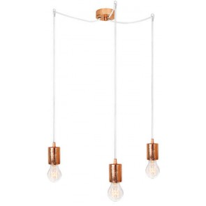 Bulb Attack CERO S3 pendant lamp with copper metal bulb holder, white power cable and copper ceiling canopy