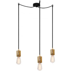 Bulb Attack CERO S3 pendant lamp with gold metal bulb holder, black power cable and black ceiling canopy