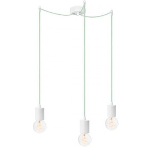 Bulb Attack CERO S3 pendant lamp with white metal bulb holder, light blue power cable and white ceiling canopy