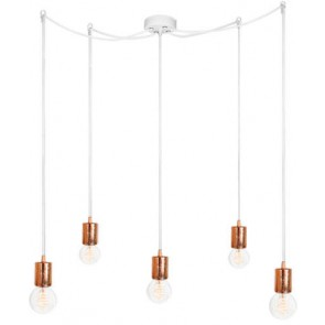 Bulb Attack CERO S5 pendant lamp with copper metal bulb holder, white power cable and white ceiling canopy