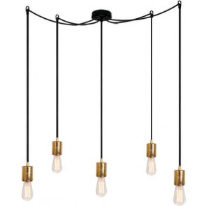 Bulb Attack CERO S5 pendant lamp with gold metal bulb holder, black power cable and black ceiling canopy
