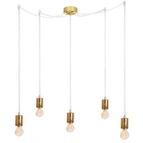 Bulb Attack CERO S5 pendant lamp with gold metal bulb holder, white power cable and gold ceiling canopy