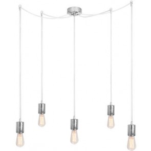 Bulb Attack CERO S5 pendant lamp with silver metal bulb holder, white power cable and silver ceiling canopy