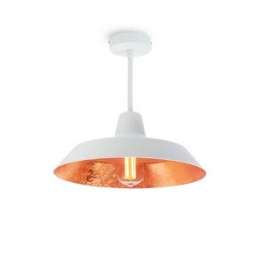 Bulb Attack Cinco Basic C1 ceiling lamp with white/copper metal shade and white hardware