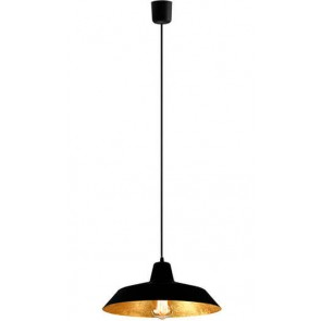 Bulb Attack Cinco S1 pendant lamp with black/gold leaves shade and black power cable