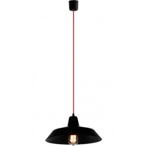 Bulb Attack Cinco S1 pendant lamp with black shade and red power cable