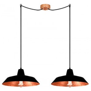 Bulb Attack Cinco S2 pendant lamp with black/copper shade and black power cable