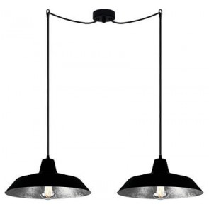 Bulb Attack Cinco S2 pendant lamp with black/silver shade and black power cable
