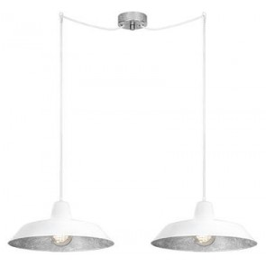 Bulb Attack Cinco S2 pendant lamp with white/silver shade and white power cable