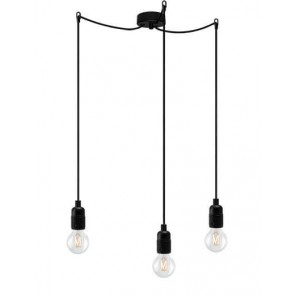 Bulb Attack Uno Basic S3 pendant lamp with black lamp holder, black textile cable and black ceiling rose