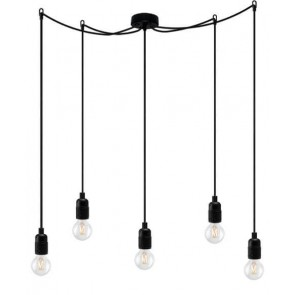Bulb Attack UNO Basic S5 pendant lamp with black lamp holder, black power cable and black ceiling rose