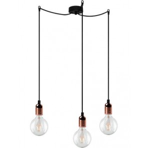 Bulb Attack Uno Basic S3 pendant lamp with metallic copper lamp holder, black textile cable and black ceiling rose