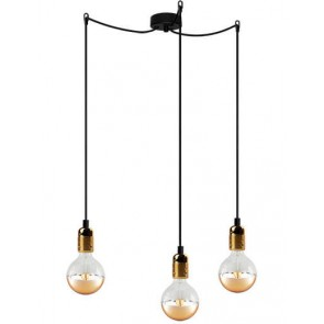 Bulb Attack Uno Basic S3 pendant lamp with metallic gold lamp holder, black textile cable and black ceiling rose
