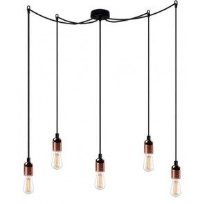 Bulb Attack UNO Basic S5 pendant lamp with metallic copper lamp holder, black power cable and black ceiling rose