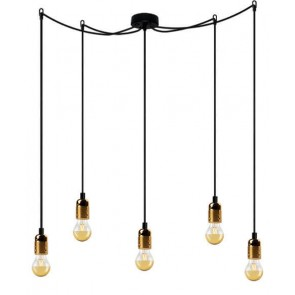 Bulb Attack UNO Basic S5 pendant lamp with metallic gold lamp holder, black power cable and black ceiling rose