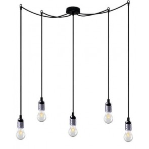 Bulb Attack UNO Basic S5 pendant lamp with metallic silver lamp holder, black power cable and black ceiling rose