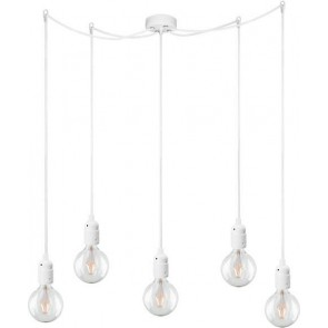 Bulb Attack UNO Basic S5 pendant lamp with white lamp holder, white power cable and white ceiling rose