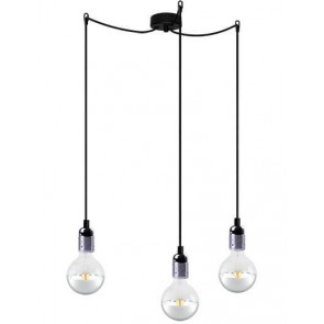 Bulb Attack Uno Basic S3 pendant lamp with metallic silver lamp holder, black textile cable and black ceiling rose