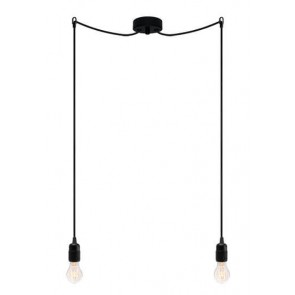 Bulb Attack Uno S2 pendant lamp with black lamp holder, black textile cable and black ceiling rose