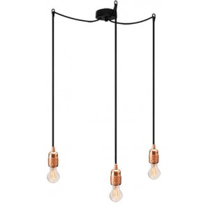 Bulb Attack Uno S3 pendant lamp with copper lamp holder, black textile cable and black ceiling rose