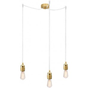 Bulb Attack Uno S3 pendant lamp with gold lamp holder, white textile cable and gold ceiling rose