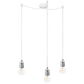 Bulb Attack Uno S3 pendant lamp with silver lamp holder, white textile cable and white ceiling rose