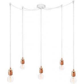 Bulb Attack Uno S5 pendant lamp with copper lamp holder, white textile cable and white ceiling rose
