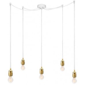 Bulb Attack Uno S5 pendant lamp with gold lamp holder, white textile cable and white ceiling rose