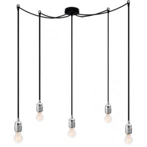 Bulb Attack Uno S5 pendant lamp with silver lamp holder, black textile cable and black ceiling rose