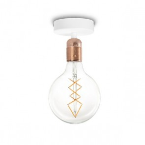 Bulb Attack Uno Basic C1 ceiling lamp with copper glossy E27 lamp holder and white ceiling canopy