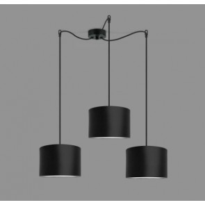 Cascade Drum Pendant Light Bulb Attack TRES 3 with black textile lamp shade, cable and decorative ceiling canopy