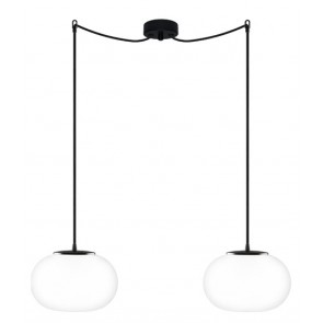 Sotto Luce DOSEI 2/S pendant light fitting with opal matte/black lamp shade