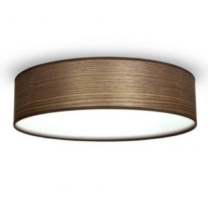 Sotto Luce TSURI Elementary ceiling lamp with natural wooden veneer shade - walnut