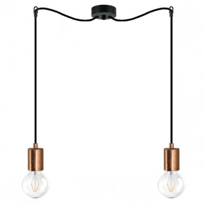 Bulb Attack Cero Basic S2 double pendant lamp with copper lamp holder and black textile power cable