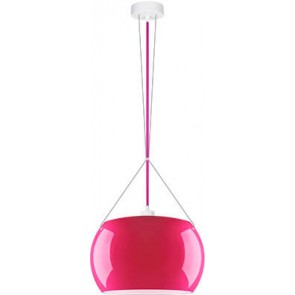 Sotto Luce MOMO Elementary 1/S pendant lamp with fuchsia/opal glass shade