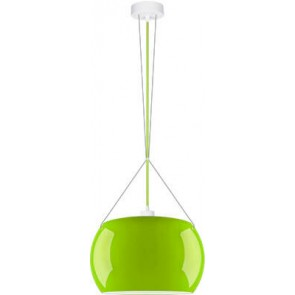 Sotto Luce MOMO Elementary 1/S pendant lamp with green/opal glass shade