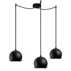 Sotto Luce MYOO Elementary 3/S pendant light with black matte/opal lamp shade