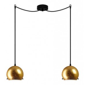 Sotto Luce MYOO Elementary 2/S ceiling light with gold lamp shade