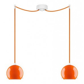 Sotto Luce MYOO Elementary 2/S ceiling light with orange lamp shade