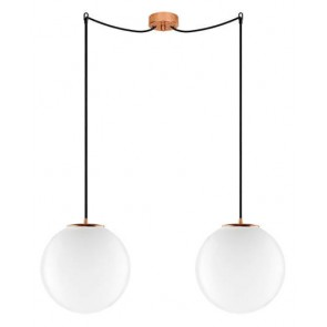 Sotto Luce TSUKI Elementary 2/S pendant lamp with opal/copper glass shade and black textile cable
