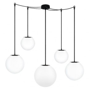 Sotto Luce TSUKI MIX 5/S pendant lamp with opal matte shade, black power cord and black ceiling canopy