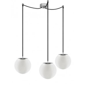 Sotto Luce TSUKI Elementary 3/S pendant lamp with opal matte glass shade and black power cable