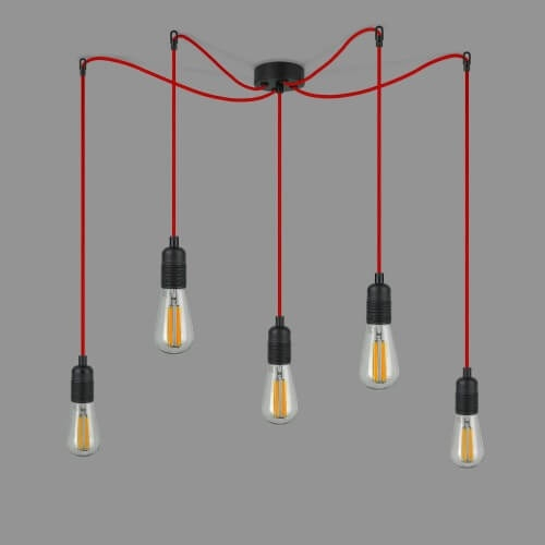 Designer pendant lamp Bulb Attack UNO S5 black and red