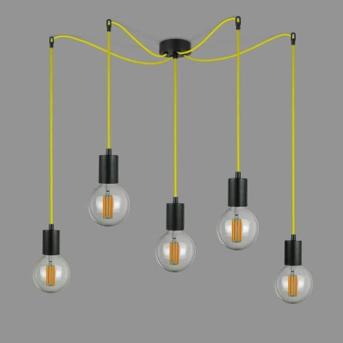 Bulb Attack Cero S5 pendant lamp with black E27 bulb holder and yellow decorative power cable